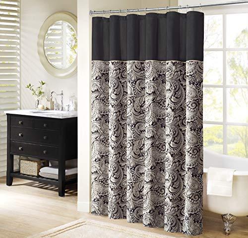"Madison Park Aubrey Shower Curtain Paisley Jacquard Pieced Microfiber Faux Silk Modern Home Bathroom Decorations Bathtub Privacy Screen, 72"" x 72"", Black"