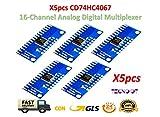 TECNOIOT 5pcs CD74HC4067 16-Channel Analog Digital Multiplexer Breakout Board Module