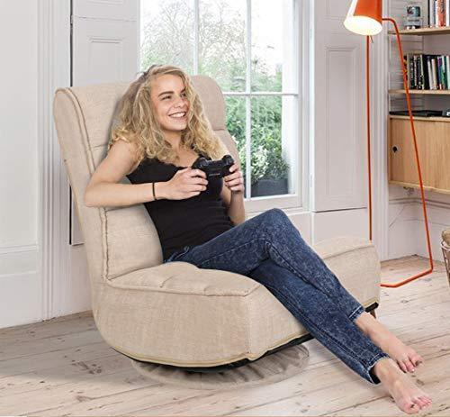 High Back Folding Floor Gaming Chair,360-Degree Swivel Floor Lazy Sofa Chair,High Back Padded Backrest Lounger Sleeper Game Rocker for Teens Adults,Mocha