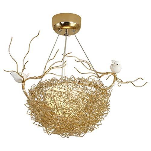 AVOA Lámpara de Techo Lámpara de araña E27 Personalidad Creativa Decoración de Nido Luces Colgantes LED Luz de Techo nórdica de Aluminio de Hierro Forjado Lámpara Colgante (Color : Gold)