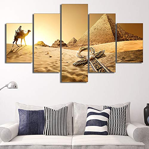 KINYNE Cuadro sobre Lienzo Arte De La Pared Desierto Dorado Antiguo Egipto Pirámide Pintura 5 Piezas Obra HD Imágenes Impresas Giclee Salón Decoración para El Hogar,A,30X50x2+30X70x2+30X80x1