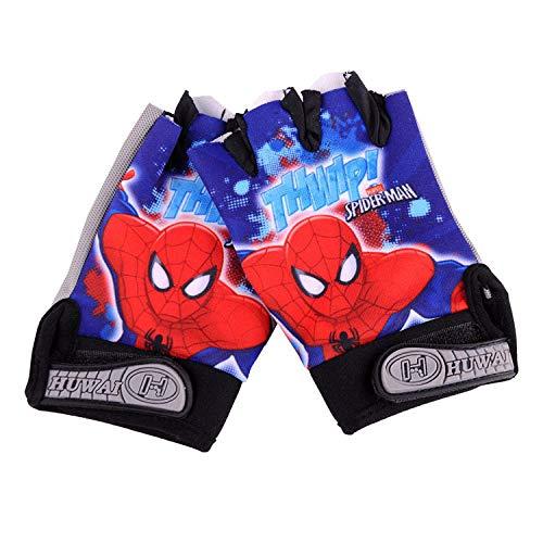 CCDD Fahrradhandschuhe, Kinder-Halbfingerhandschuhe, Sommerreithandschuhe, Kinderfahrrad-Mountainbike-Ausrüstung Handschuhe-Spiderman_One Größe