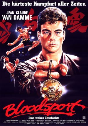 BLOODSPORT - JEAN CLAUDE VAN DAMME - GERMAN – Imported Movie Wall Poster Print – 30CM X 43CM Brand New