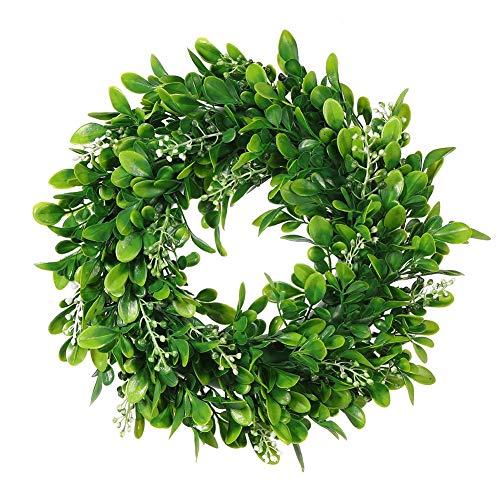 LSKYTOP 27,9 cm Buchsbaum-Kranz rund künstlicher Kranz grüne Blätter Kranz Tür Wand Fenster Dekoration Grüner Kranz