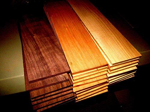"KILN Dried Sanded Thin Walnut, Cherry, Maple 12"" X 3"" X 1/4"" MULTIPAK (24)"
