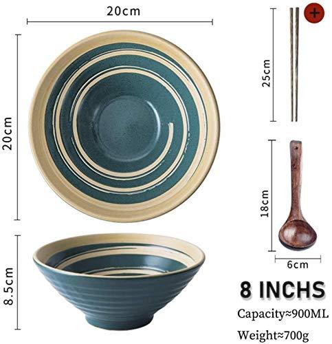 GJNVBDZSF Nudelschale Restaurant im japanischen Stil Keramikgeschirr Meeresfrüchte Handgezogene Nudeln, Suppenschüssel Dunkles Interieur, einschließlich Löffel und Essstäbchen