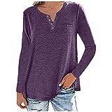 FMYONF Camiseta de manga larga para mujer, de un solo color, cuello en V, botones, suelta, para el tiempo libre, de manga larga, túnica, suéter, blusas(,), morado, L