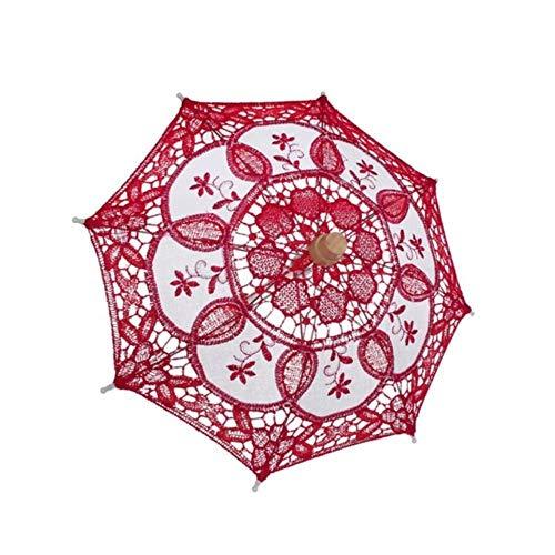 LinZX Sombrilla de encaje bordado hecho a mano para boda, fiesta, boda,...