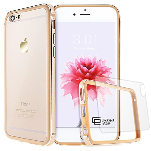 GrandEver iPhone 6/6S Hülle Aluminium Rahmen mit Silikon Bumper + Hart PC Zurück Kombination Transparent Schutzhülle Kratzfeste Handy Hülle für Apple iPhone 6 6S(4.7 Zoll) Handytasche -Gold