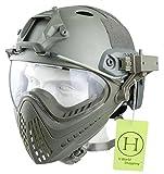 H World Shopping H Welt EU Integrierte Taktische Airsoft Paintball Vollgesichtsschutzbrillen Piloteer Schutzhelm mit Abnehmbaren Gesichtsschutz (FG, L/XL) -