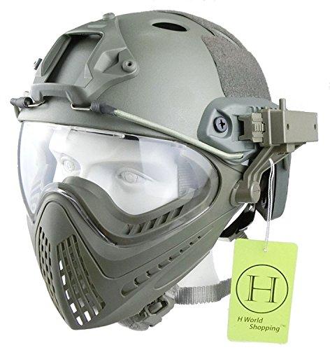 H World EU Paintball-Schutzhelm, mit integrierter Schutzbrille, Vollvisierhelm mit abnehmbarem Gesichtsschutz, FG, Medium - Large