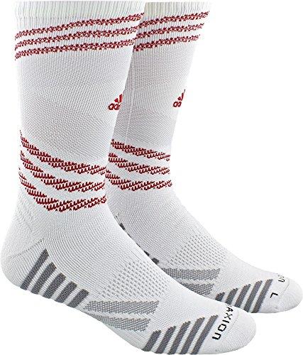 adidas Speed Mesh Team TRAXION Single Crew Socks, (White/Power Red, XL)