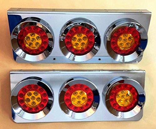 2 x Chrome en acier inoxydable Hamburger Feu arrière de LED Triple lumières Lampes