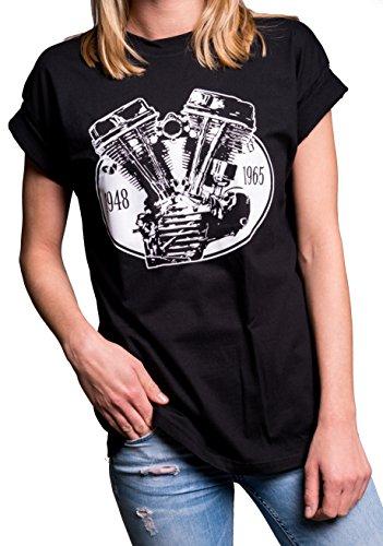 MAKAYA Top Manga Corta Estilo Oversize - Motor Panhead - Camiseta para Mujer Negro L