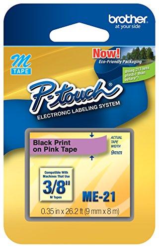 "3/8"" (9mm) Black on Pink P-Touch M Tape for Brother PT-55, PT55 Label Maker"