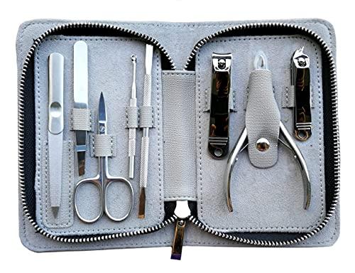 Rui Smiths Kit Pro per Manicure in Acciaio Inossidabile da 8 Pezzi per la Casa e il Salone con Pinza per Cuticole di Precisione Professionale e Spingicuticole in Metallo Stile n. 105