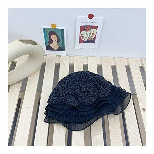 Diseño Sombrero de Sol del cordón de Las Mujeres 7CM Cap Ajustable, algodón Plegable Beach, Manera Ahuecan diseño Perfecto for Actividades al Aire Libre TTYDB (Color : Black)