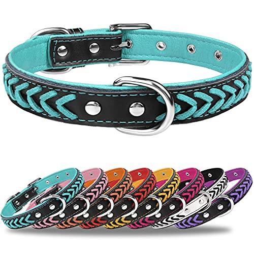 TagME Hundehalsband Leder für Große Hunde,Geflochtenes, Weich Gepolstert Hundehalsbänder mit Doppelten D-Ringen,Türkis L