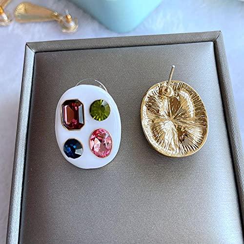 XAOQW Pendientes de alfiler Brillante Resina Decorativa Pendientes Europeos y Americanos Pendientes de niña Vieja-Ver Tabla