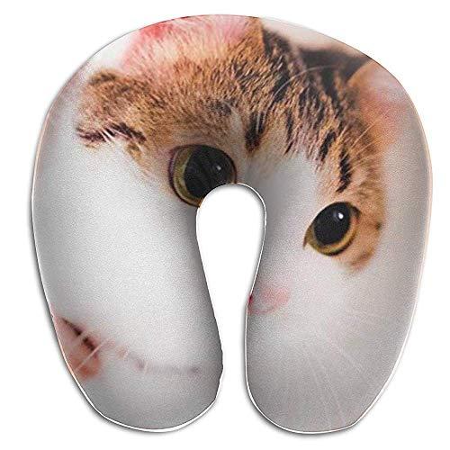 NAN TIAO Cojín de Cuello Almohada de Viaje para niños - Lovely Kitten Cat Satchel Lavable Almohada de Apoyo para la Cabeza en Forma de U para la Lucha del automóvil Siesta y Dormir
