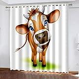 XKSJWY Cortinas Salon Modernas 2 Piezas Cortinas Opacas Termicas Aislantes Frio Y Calor con Ojales 200X160Cm 3D Vaca Animal De Dibujos Animados Patrón Cortinas Opacas para Ventanas Dormitorio