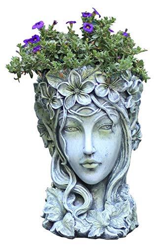 GCP Vaso da Fiori in Ceramica Fioriere da Giardino Contenitori per Piante Pianta da Interno per Esterni Ornamenti da Giardino in Vaso, Statue di Teste di dea Greca Vaso da Fiori, Fioriera succul