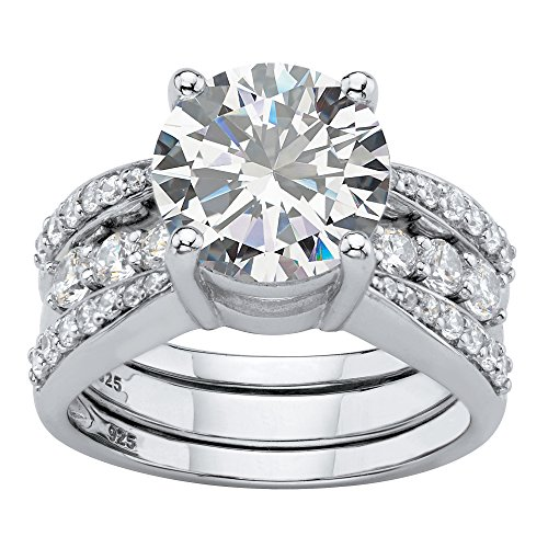 Platinum over Sterling Silver Round Cubic Zirconia 2 Piece Jacket Bridal Ring Set Size 9