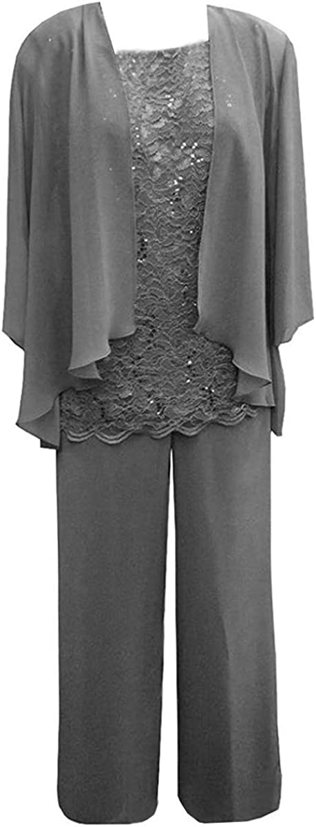 RONGKIM Women's 3 Pieces Lace Chiffon Mother of Bride Dress Pants Suit with Jacket Outfit Prom Dresses