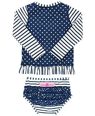 RuffleButts Baby/Toddler Girls Rash Guard 2-Piece Long Sleeve Swimsuit Set - Navy Stripe Polka Dot UPF 50+ Sun Protection - 3-6m