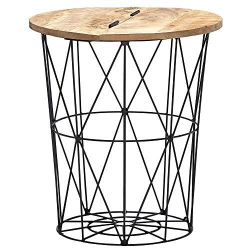 FineBuy Beistelltisch Mango Massivholz Metall 49x55x49 cm Industrial Style Rund | Design Wohnzimmertisch mit Stauraum | Moderner Loungetisch Sofatisch