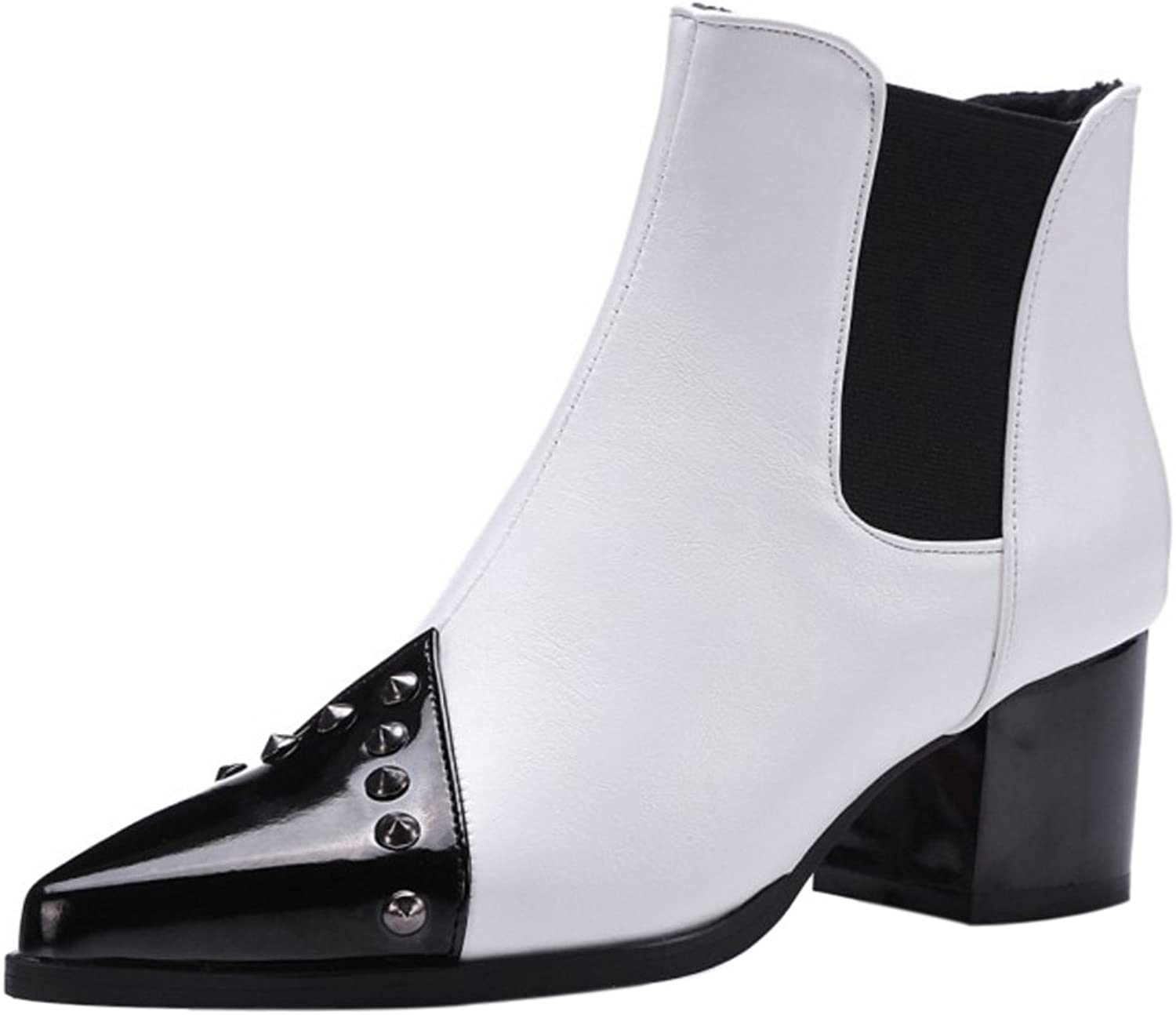 KemeKiss Women Autumn Winter Pull On Chelsea Boots Rivets Boots Ankle High