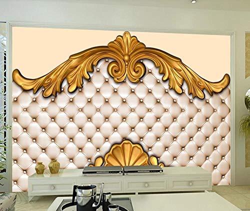 Wall Mural Wallpaper 3D Embossed Golden Plaster Pattern Soft Pack Living Room Bedroom Tv Background Wallpapers Decoration Art 400cm×280cm