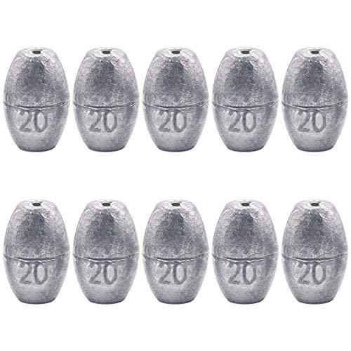 Glarks 10Pcs 20g Egg Fishing Sinker Weights Olive Bass Casting Hollow Egg Bullet Weight Set (20g/0.7oz-10pcs)