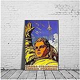 JLFDHR Vintage Stalin URSS CCCP Lienzo Pintura Rusia Carteles De Propaganda Espacial Impresiones Arte De La Pared Decoración De La Sala De Estar-50X70Cmx1 Sin Marco