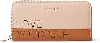 Desigual Mone_Rhapsody Zip Around, Handbag Femme, Marron/Beige, 2x9.5x19 cm (B x H x T)