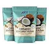 Jans Organic Coconut Flour 3.3 Lbs (3 Pack) | Gluten-Free | Certified Organic | Keto, Paleo, & Vegan...
