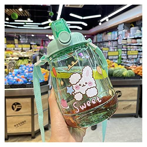 Set di tazze 1300 ml Grande capacità Bottiglia di acqua sportiva all'aperto con cinturino di paglia Creativo carino adesivo portatile in plastica per bambini in plastica sappy tazza di acqua Bicchiere