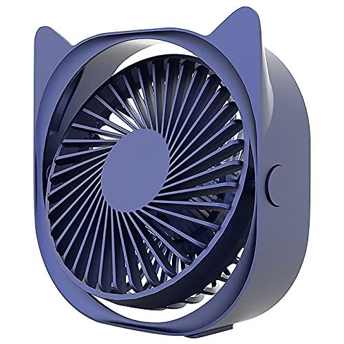 LABYSJ Mini Ventilador de Escritorio silencioso USB, Ventilador de Escritorio para Oficina en Verano, Ajuste de 3 velocidades, rotación de 360 °, Ventilador de refrigeración USB portátil,Azul