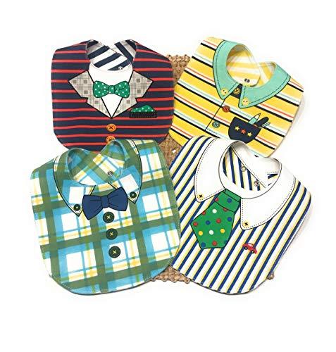 bavaglini neonato, LITTLE DETAIL, offerte regali neonato, kit pappa Per Bambino, regali utili neonato, Bavaglini impermeabili cotone 100% 4 Bavaglini double face con Cucchiaino.
