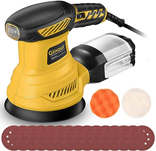 Random Orbit Sander, Ginour 6 Variable Speeds Palm Sander 13000 RPM with 15 Sandpapers (P80x5, P120x5, P180x7) & Sponge, Wool Disc, Dust Collection System, Ideal for Sanding, Finishing, Polishing Wood