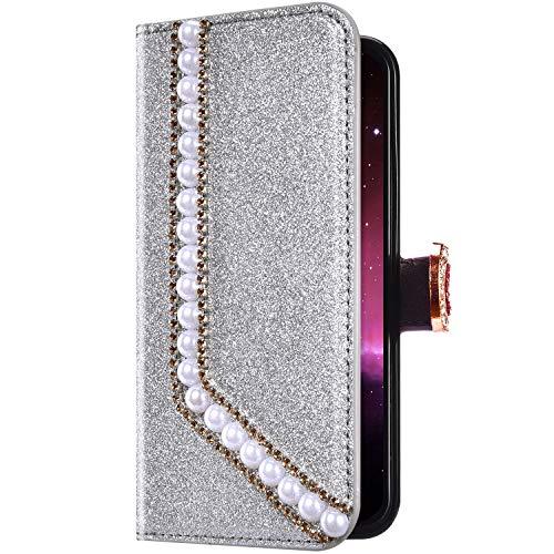 Uposao Compatibile con iPhone 6 Plus/6S Plus Custodia a Libro PU Pelle Portafoglio Brillantini Glitter Fantasia Diamante Cuore Disegno Interno TPU Magnetica Supporto Protettiva Cover,Argento