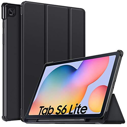 IVSO Hülle für Samsung Galaxy Tab S6 lite, Slim Schutzhülle Hochwertiges PU mit Standfunktion Perfekt Geeignet für Samsung Galaxy Tab S6 lite 10.4 Zoll 2020 Modell, Schwarz