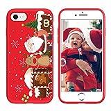 Yoedge Funda para iPhone 7/8, Cárcasa Silicona Rojo Navidad con Dibujos Nieve Ciervo de Diseño Antigolpes Case Bumper Fundas para iPhone SE 2020 Smartphone. (Navidad)