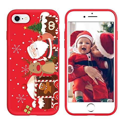 Yoedge Cover iPhone 7 / iPhone 8, Sottile Antiurto Custodia Rosso Silicone TPU con Disegni Pattern Ultra Slim Protective Bumper Case per Apple iPhone 7/8 / 9 / SE 2020 Smartphone, Albero di Natale