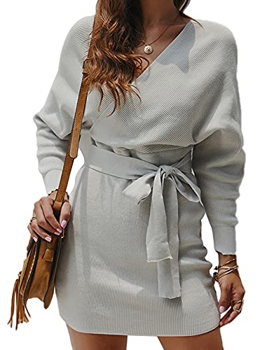 Vestido Punto para Mujer Otoño Invierno Vestido Elegante Manga Larga Suéter Mini Frente Cruzado Vestidos Gris