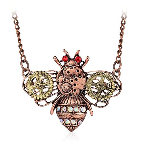 AILUOR Steampunk Gear Pendant Necklace, Punk Vintage Gothic Love Heart Owl Butterfly Bee Insect Chain Sweater Pendant Necklace Jewelry for Women Girl (Bee)