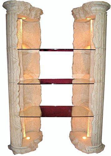 Antikes Wohndesign Säulenregal Bücherregal Eckvitrine Vitrine Verkausregal Standregal Glasregal Fossilregal Sammlervitrine Eckregal Höhe: 202cm Creme Beige