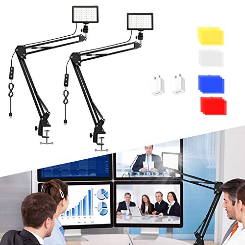 2 Packs 70 LED Video Conference Lighting with Clamp Scissor Arm Stand/Color Filters/USB Wall Charger, Obeamiu 5600K USB Studio Light Kit for Photography, Portrait YouTube, Zoom Call, Live Streaming