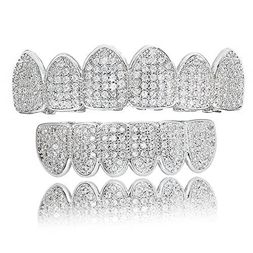 GQFGYYL Zahnspange, Zähne, Hip Hop Teeth Grill Set Microset Diamond Braces, Eingelegter Oberer und Unterer Zahnersatz für Halloween-Party,002