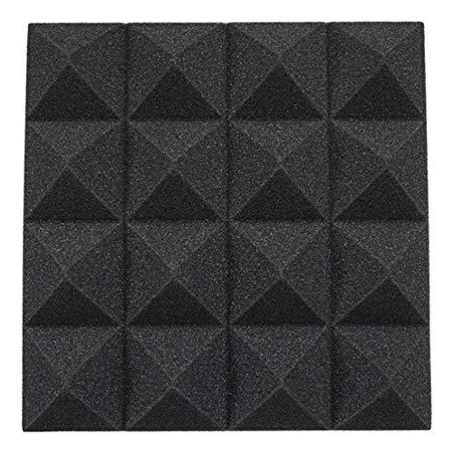 12 Akustik Studio Behandlung Schaumstoff DIY Studio Schalldämmung Wand Fliesen Isolierung 25x25x5 cm (Schwarz)
